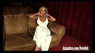Brandi Love strips and masturbates in the theater room