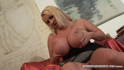 Huge natural tits Laura M masturbates