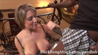 Busty blonde strips and anal pounded