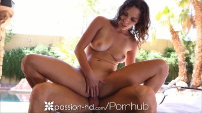 Passion-HD Girl with natural tits rides pool boy's cock