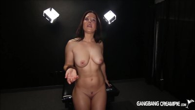 Long haired beauty gets gangbanged and crempied