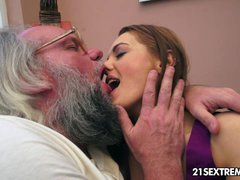 Old man bangs Dominica Fox s tight young pussy
