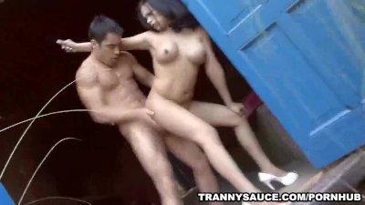 Tranny babe Vera getting fucked hard anally outdoors