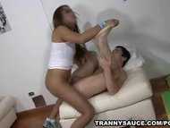 Tranny Tania and her man fuck each others asses