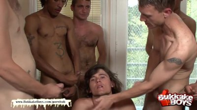 Bukkake Boys - Sex Freak gets his Ass hole destroyed