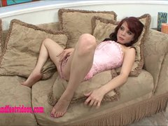 Hot teen Horny girl first time gives footjob and fuck