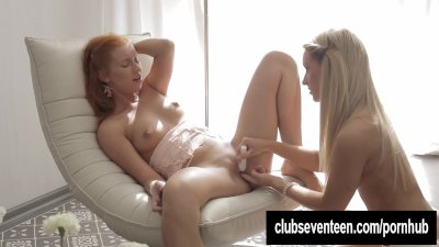Blonde lesbian teens toying each other