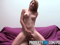 PropertySex   Nudist tenant with mesmerizing natural tits fucks landlord