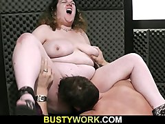 Busty bitch gives tit job and fucks
