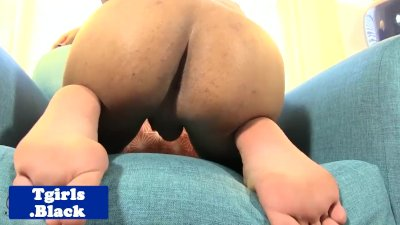 Black amateur shemale jerking off on chair