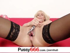 Stockings blonde babe Bella Morgan extreme pussy play pov zoomed in
