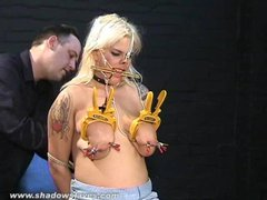 Busty amateur BDSM slave Cherrys nose hook bondage and extreme metal clamp