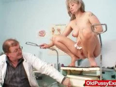 Beautiful blonde milf Alena piss hole doc exam