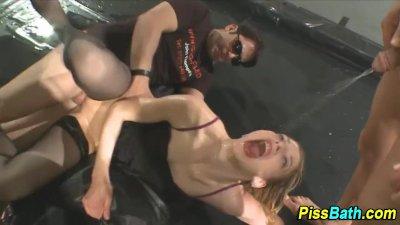 Golden showered fetish ho