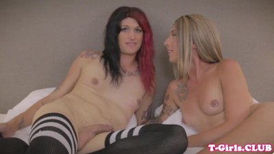 Inked transgirl twosome riding dick up ass