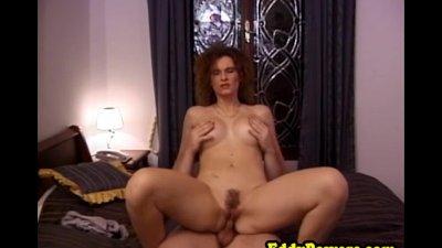 Vintage milf masturbates before fucking cock