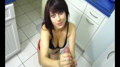 Teen handjob in the kitchen