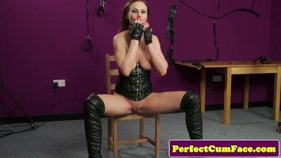 Leather fetish babe perfectly spunked on face