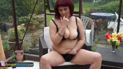 Mystery mature Christina masturbation