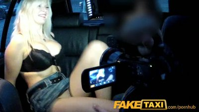 Public Blonde Blowjob video: FakeTaxi Big tits blonde fucks partner on taxi backseat