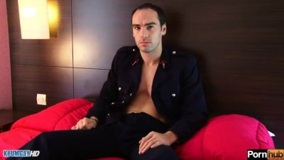 str8 french guy get wanked his huge cock! Benoît serviced in spite of him!