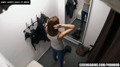 Nice Brunette Changing her Bra in Public Store