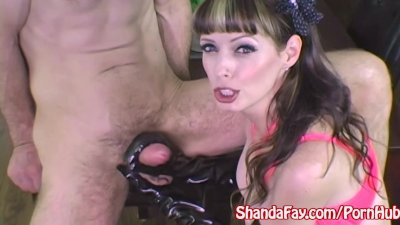 Handjob Facial Wanking video: Milf Shanda Fay Jerks Off Hard Cock with Latex Gloves!