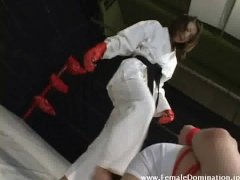 Gagged slaved in bondage is beaten up inside the ring