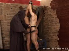 Mad monk spanking young sinner