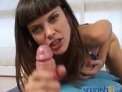 busty spanish Lola De Valle giving a good Handjob