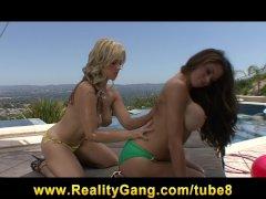Sexy horny bigtit sluts fuck bigdick outdoors in hot threesome