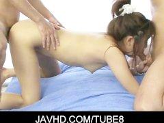 Lovely asian babe Mahiru Tsubaki got her hairy muff vibbed