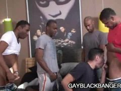 Ebony dudes Aron  Cuba  JD and Justin Plugging A White Ass