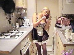 Voyeur watches UK pornstar Kaz B dressing as a French Maid
