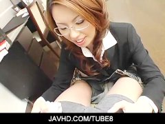 Sexy  japanese teacher with dirty mind gives head to her student