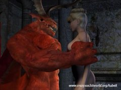 3D Animation: Red Demon Fucks Blond babe