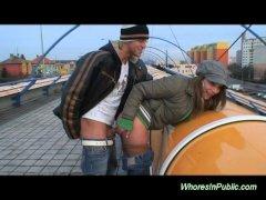 Cute scandinavian babe fucked in public taking cum
