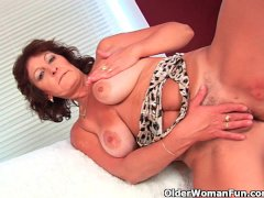 Big titted granny finger fucks her hairy pussy