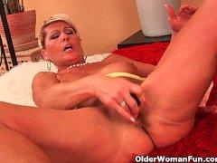 Saggy granny fucks a dildo and fingers her ass
