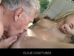 Nasty blonde seduces old guy and swallows his cum shot