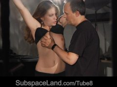 Obedient slave girl making a deepthroat blowjob