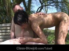 Naughty dick addicted babe perform master blowjob