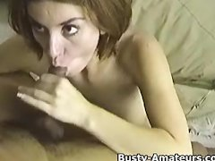 Busty Sarah loves sucking on cock