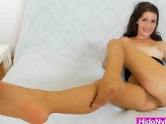 Ema Black nylon legs show
