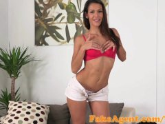 FakeAgent Super hot Spanish babe gets covered in Spunk