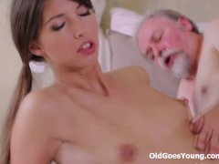 Young Marisa was so horny and wanted this old dude s cock in her pussy
