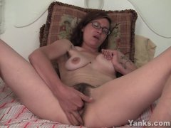 Tattooed Sylvie Masturbating Her Bushy Slit