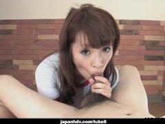 Adorable Japanese teen wanks and sucks her man s hard wang