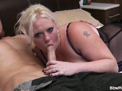 Chubby girl in lingerie seduces garden worker