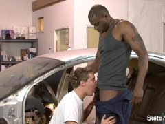 White gay mechanic gets black fucked at work